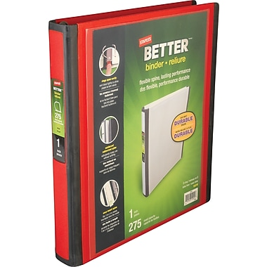 Staples Better 1-Inch D 3-Ring View Binder, Red (18370)