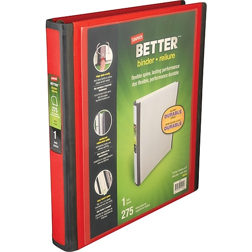 staples better 1 inch d 3 ring view binder red 18370 staples