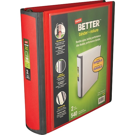 staples better heavy duty nonstick 2 inch d 3 ring view binder red