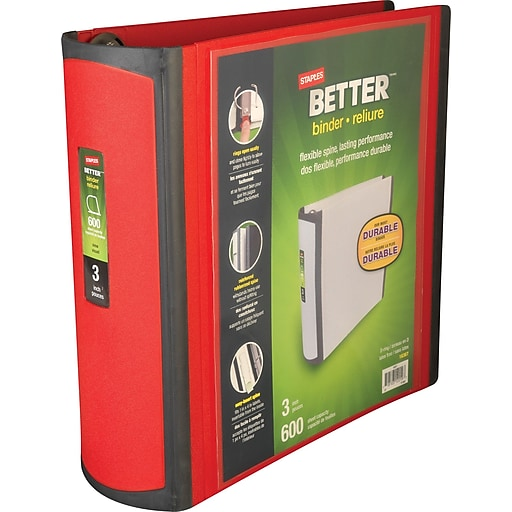 staples better 3 inch d 3 ring view binder red 18367 staples