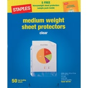 """Staples Nonstick Medium-Weight 2.4 mil Top-Loading Sheet Protectors, Clear, 8 1/2"""" x 11"""", 50 CT (10519-CC)"""