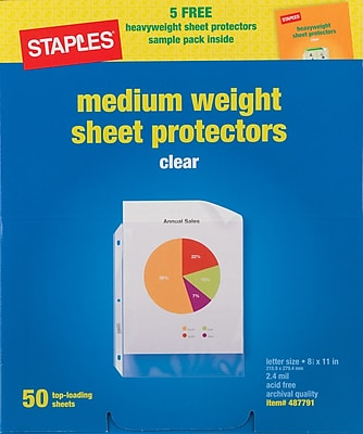 Staples Nonstick Medium-Weight 2.4 mil Top-Loading Sheet Protectors, Clear, 8 1/2