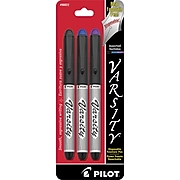 Pilot Varsity Fountain Pens, Medium Point, Assorted Ink, 3/Pack (90022)