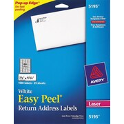 "Avery® 5195 White Laser Return Address Labels with Easy Peel®, 2/3"" x 1-3/4"", 1,500/Box"