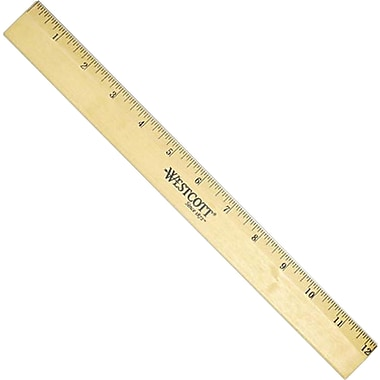 Westcott® 5011 Beveled Metal Edge Rigid Wood Ruler, 12