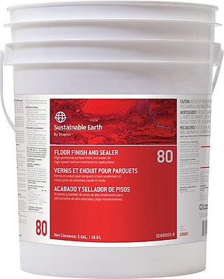 Sustainable Earth® by Staples® #80 Floor Care Floor Finish, 5 Gallons, Pail