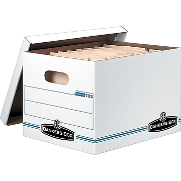 Bankers Box® Stor/File Corrugated File Storage Boxes, Lift-Off Lid, Letter/Legal Size, White/Blue (57036-04)