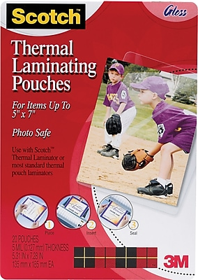 """Scotch™ Laminating Pouch, 5 mil, 7 1/4""""(H) x 5 3/8""""(W), 20/Pack"""