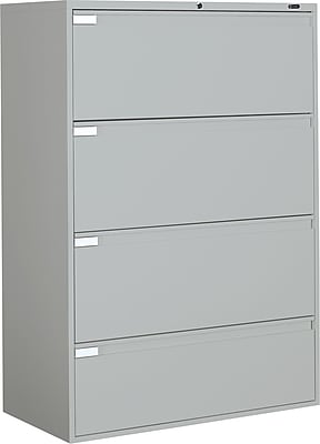 Global 9300P Series 4 Drawer Lateral File, Gray,Letter/Legal, 42''W (TD9342P4F1HLGR)