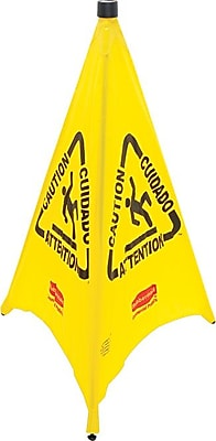 Rubbermaid® Three-Sided Caution, Wet Floor Safety Cone, Yellow