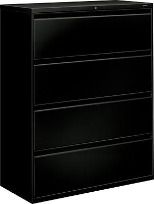 HON Brigade 800 Series 4 Drawer Lateral File, Black,Letter/Legal, 42''W (HON894LP)