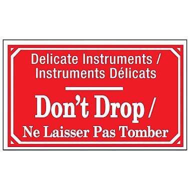 Étiquettes de manutention « instruments délicats, ne pas laisser tomber », bilingue 5 po x 3 po, 500/rouleau