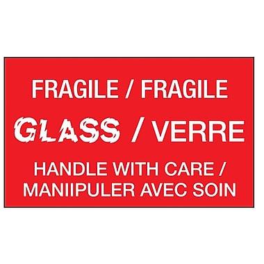 Étiquettes de manutention « verre fragile, manipuler avec soin », bilingue 5 po x 3 po, 500/rouleau