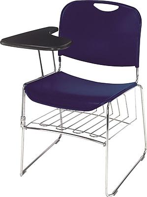 NPS® Plastic Hi-Tech Ultra-Compact Stack Chair, Navy Blue/Chrome
