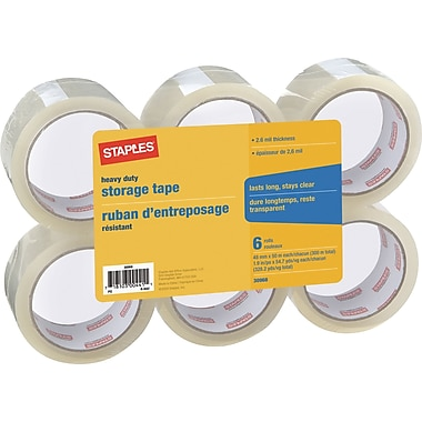Staples® - Ruban d'emballage robuste, 48 mm x 50 m, 2,6 mil, paq./6