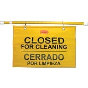 """Rubbermaid® Commercial Site Safety Hanging Sign, 50"""" x 1"""" x 13"""", Multi-Lingual, Yellow"""