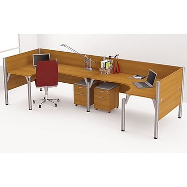 Bestar Pro-Biz Office System Double Back-to-Back L-Desk Workstation, Full Wall, Cappuccino Cherry