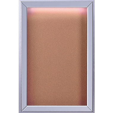 Ghent 1-Door Enclosed Bulletin Board with Concealed Lighting, 36