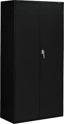 Global 9300 Series Economy Steel Storage Cabinets, Latch Handle, Black, 72