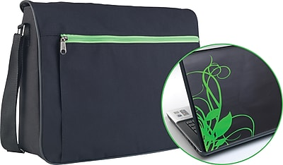Trendsetter Messenger Bag & Laptop Skin Green Swirl