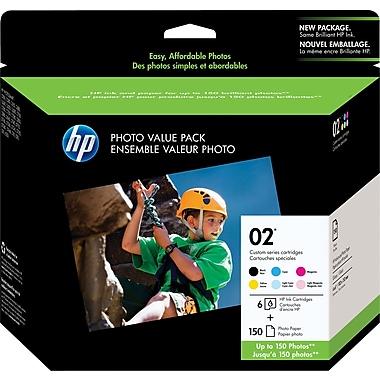 HP – Ensemble de six cartouches d'encre 02, 150 feuilles, paquet économique (Q7964AC)