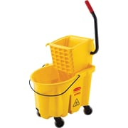 Rubbermaid WaveBrake® Bucket/Side-Press Wringers Combo, Yellow, 26-Quart Capacity