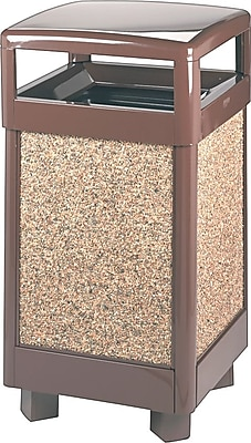 Rubbermaid Hinged-top Litter Receptacle, 29 Gallon, Brown, 40
