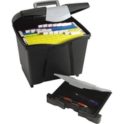 Storex Portable File Box with Pull-Out Tray, Black (61523E02C)