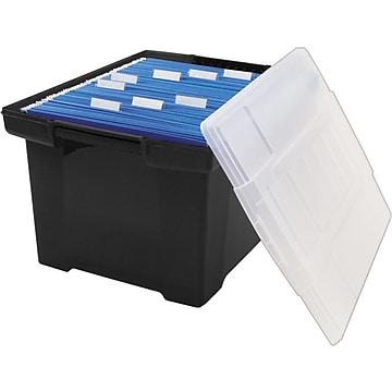 Storex Storage Plastic File Tote with Comfort Grips, Black/Clear (61528U01C)