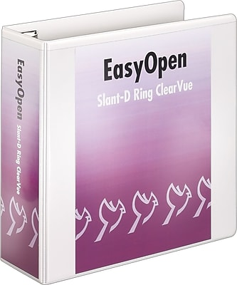 Cardinal Easy Open ClearVue 4-Inch D 3-Ring Binder, White (10340)