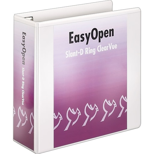 cardinal easy open clearvue 4 inch d 3 ring binder white 10340