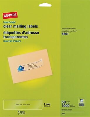 Staples® Clear Inkjet/Laser Address Labels, 1