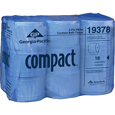 Compact®, White coreless High Capacity 2-Ply Bathroom Tissue, 1500 Sheets/Roll, 18 Rolls/Case, (19378)
