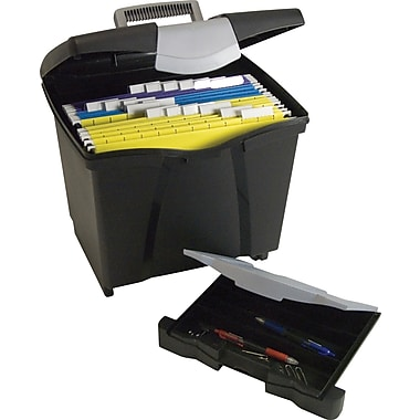 Storex File Box with Organizer Drawer