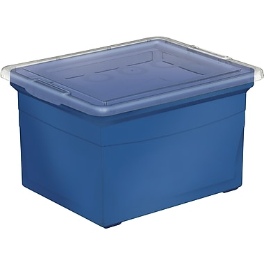 Staples Heavy Duty File Box, Blue, 32L
