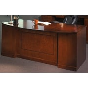 "Mayline Sorrento™ Series Double Pedestal Bow Front Desk, Bourbon Cherry, 29 1/2""H x 72""W x 39""D"