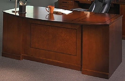 Mayline Sorrento™ Series Double Pedestal Bow Front Desk, Bourbon Cherry, 29 1/2