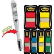 "Post-it® Assorted Standard 1"" and 1/2"" Flag Bonus Pack w/Free Flag + Ballpoint Pen, Each"