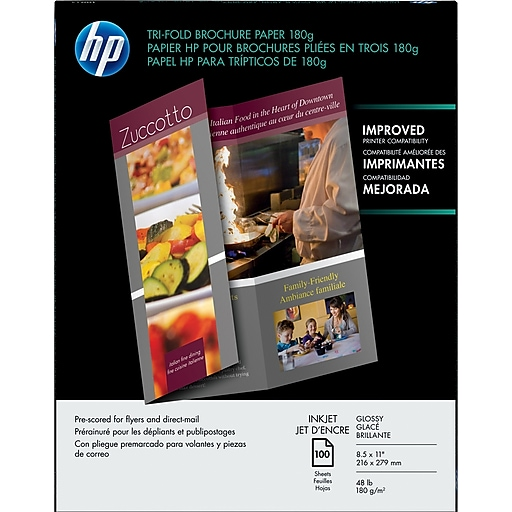 hp tri fold brochure paper 180g glossy 100 pack c7020a staples