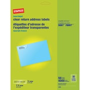 Staples Clear Inkjet/Laser Return Address Labels, 1/2