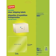 "Staples® Clear Inkjet/Laser Shipping Labels, 3 1/3"" x 4"", 150/Box"