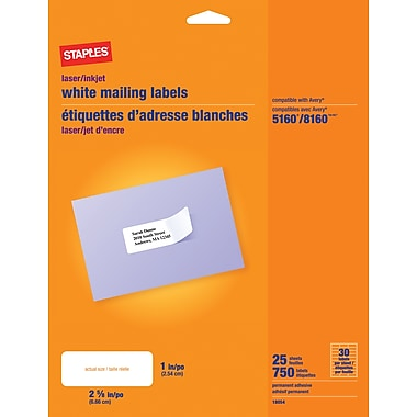 White Mailing Labels - Staples white mailing labels template 5160