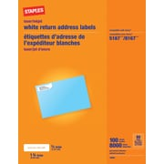 "Staples White Inkjet/Laser Return Address Labels, 1/2"" x 1-3/4"", 8,000/Box (18056/SIWO090)"
