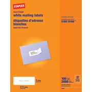 "Staples® White Inkjet/Laser Address Labels, 1"" X 2-5/8"", 3,000/Box"