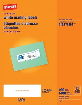 Staples® White Inkjet/Laser Address Labels, 1-1/3