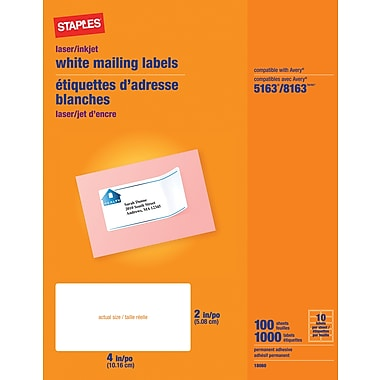 Staples® White Address Labels for Inkjet/Laser Printers, 2