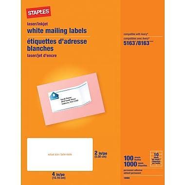 Staples® - Étiquettes d'adresses blanches pour imprimantes jet d'encre/laser, 2 po x 4 po, paq./1000