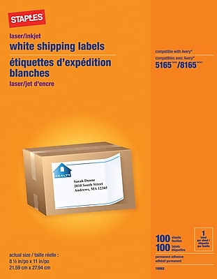 graphic regarding Printable Stickers Staples referred to as Staples Laser/Inkjet Shipping and delivery Labels, 8 1/2\