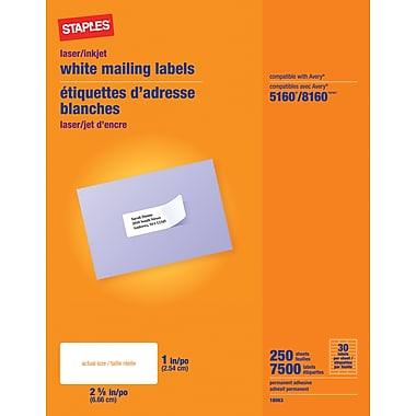 Staples® White Mailing Labels for Inkjet/Laser Printers, 2-5/8