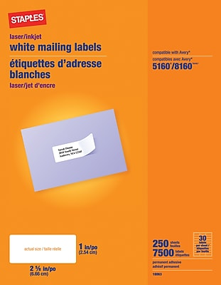 staples address label template 5160